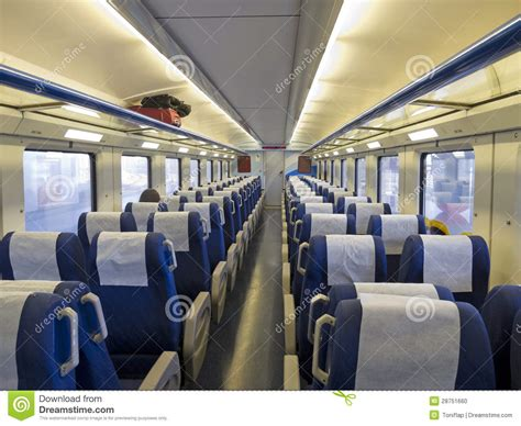 interior picture interior of a passenger with empty seats stock photo