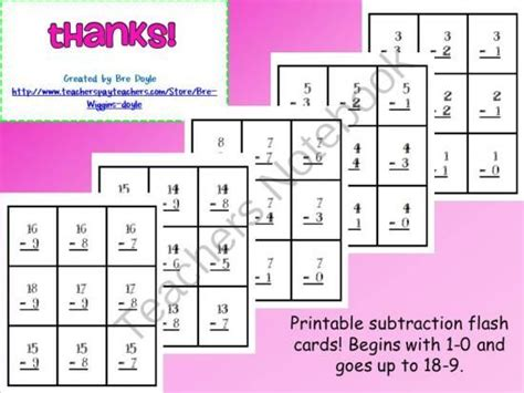 printable flash cards subtraction pin by bre doyle on school organizing ideas pinterest