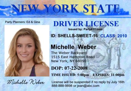 license nyc personalized driver s license invitations and birth announcements