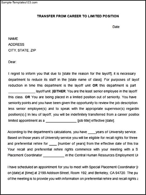 Transfer Position Letter Career To Limited Position Transfer Letter Template Sle Templates
