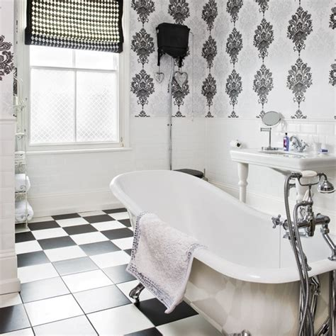 black and white wallpaper for bathrooms monochrome bathroom modern bathrooms bathroom wallpaper housetohome co uk
