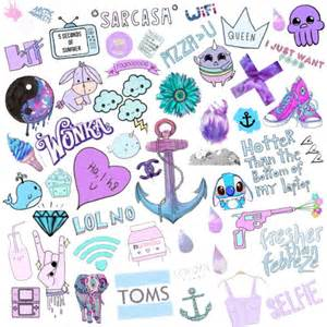 purple themed selfmade collage on we heart it
