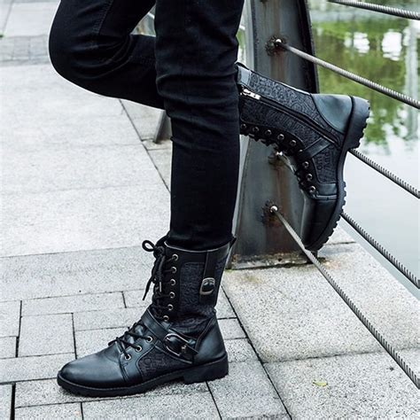 mens lace up motorcycle boots tangnest autumn martin boots fashion pu leather