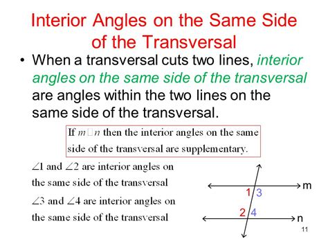 Interior Angles On Same Side Of Transversal by Parallel Lines Ppt
