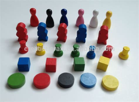 mini wooden board games token custom design adult board custom board game pieces dice pawns tokens spinner view