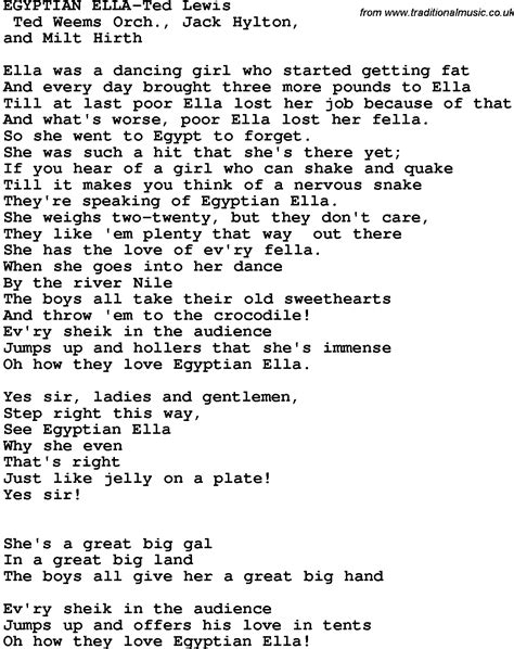 lyrics ella novelty song ella ted lewis lyrics
