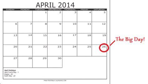 printable calendar with large boxes april 2014 calendar with space to write autos post
