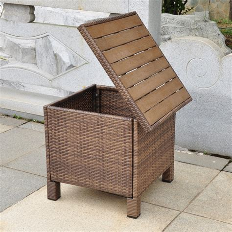Patio Storage Table International Caravan Barcelona All Weather Wicker Contemporary Outdoor Storage Table Patio