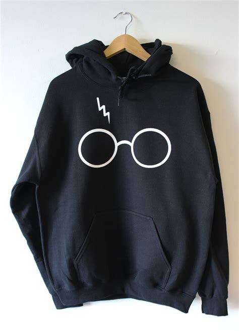 Harry Potter Sweater Black harry potter lightning glasses black hoodies sweater