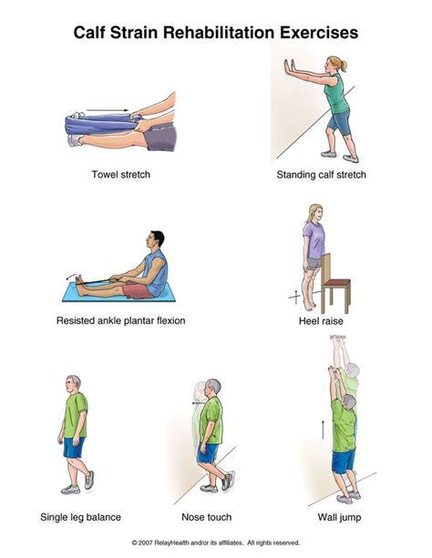 printable hip flexor stretches calf strain rehabilitation exercises handouts printable