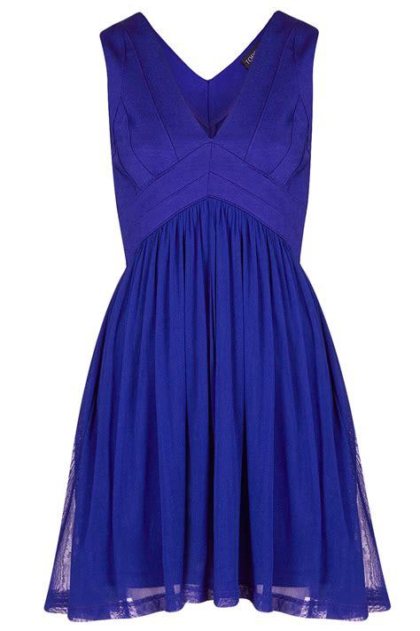 Vs Topshop by Topshop Bandage V Neck Skater Dress In Blue Lyst