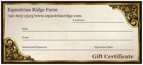 Horseback Riding Lesson Gift Certificate Template Templates Data Horseback Lesson Gift Certificate Template