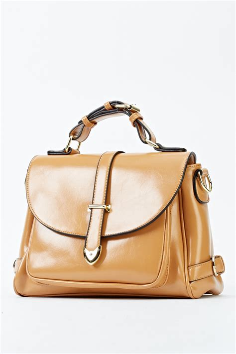 Faux Leather Satchel Bag faux leather camel satchel bag just 163 5