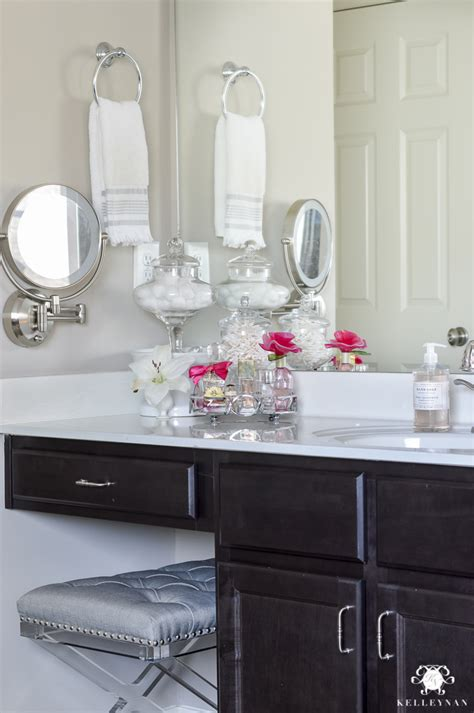 Bathroom Cabinets With Makeup Vanity Vanity Makeup Drawer And Bathroom Cabinet Organization Kelley Nan