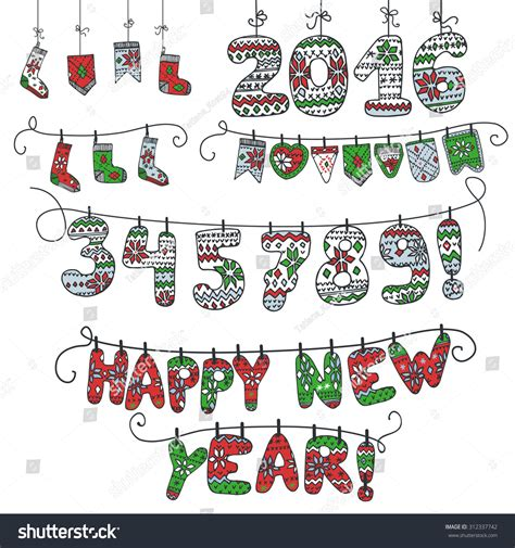 doodle calendar invites new year 2016 doodle garland of knitted numbers