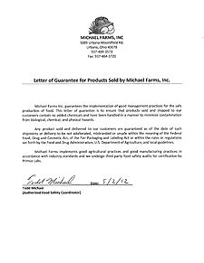 Guarantee Letter Of Product Michaelfarms Our Products Food Safety