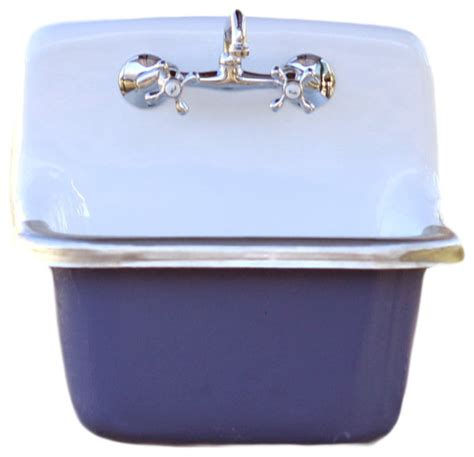 Blue Kitchen Sink Porcelain Farm Basin Sink Pitch Blue Contemporary Kitchen Sinks By Rela