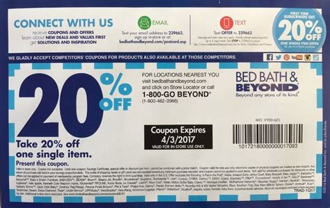 20 Coupon For Bed Bath And Beyond by Bed Bath Beyond Coupon 20 Any Item In Store Bed