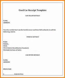 template for selling a car 8 how to write a receipt for selling a car ledger paper