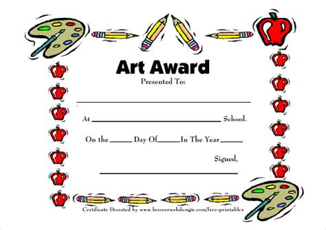 printable art awards art award certificates 7 free psd pdf format download