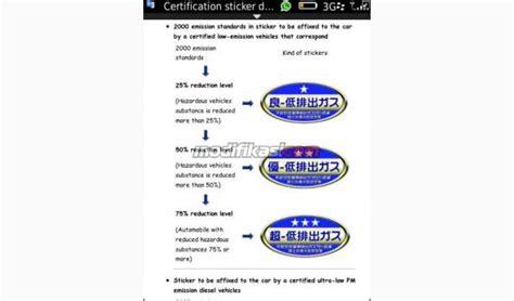 sticker sticker emission cbu cars japan