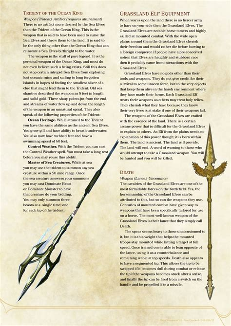 weapons and spells cards template d d dnd 5e homebrew elven weapons and armor by sparkybard