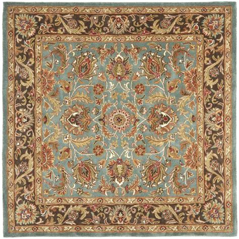 blue traditional rugs safavieh handmade heritage timeless traditional blue brown wool rug 8 square by safavieh