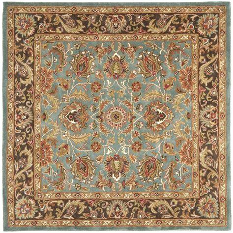 square wool rug safavieh handmade heritage timeless traditional blue brown wool rug 8 square by safavieh