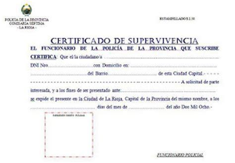 certificado de supervivencia en argentina comisaria septima la rioja argentina certificado de