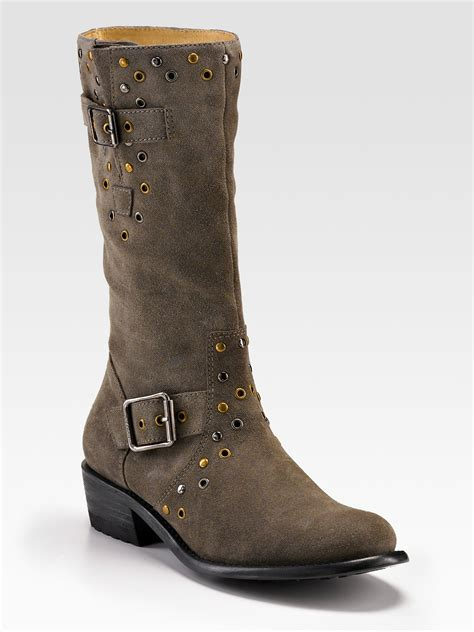 gray suede boots couture giordana distressed suede boots in gray