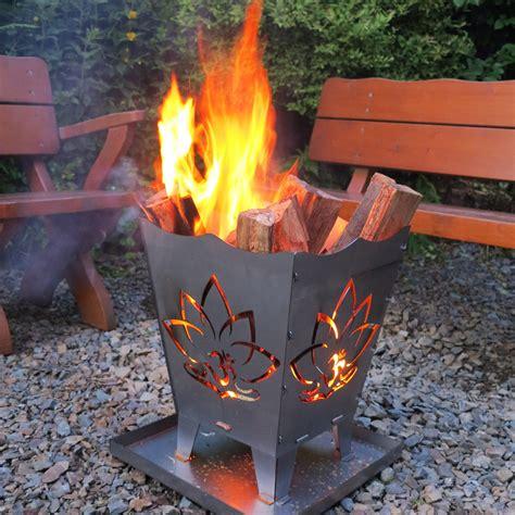 feuerschale blume feuerkorb lotus onfire mit om symbol outdoor chillout
