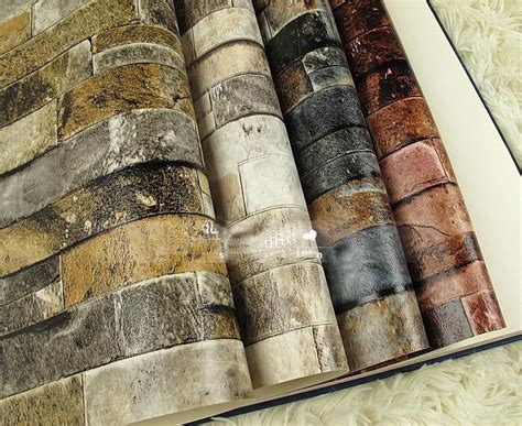 Wallpaper Vinyl Paper 1304 3d wall paper brick thicken pvc vintage wallpapers pvc vinyl wallpaper roll for walls
