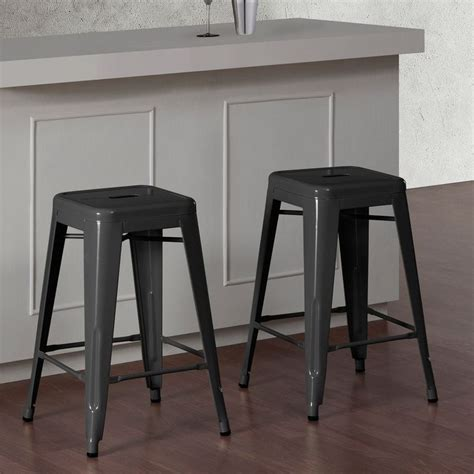 Tabouret 24 Inch Metal Counter Stools Set Of 2 by Tabouret 24 Inch Charcoal Grey Metal Counter Stools Set Of 2