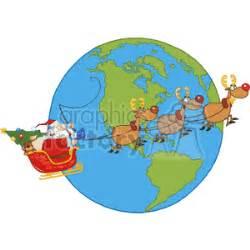 cartoon santa   sleigh flying   globe clipart royalty  gif jpg png eps svg