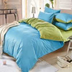 Plain Blue Bedding Sets 3 4pcs Cotton Sky Blue Green Color Assorted Bedding