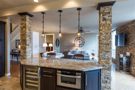 Kitchen With Breakfast Nook Designs rustic kitchen with columns amp pendant light zillow digs