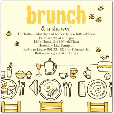 Baby Shower Brunch Invitation Wording by Brunch Baby Shower Invitations In Yogurt