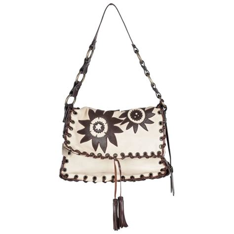 Dolce Gabbana Medium Fabric Bag In Ivory by Dolce And Gabbana Ivory And Brown Leather Shoulder Bag