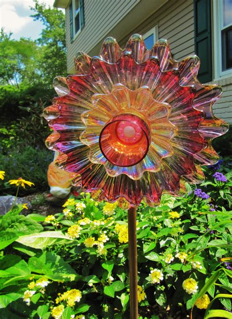 Glass Flowers For Garden Garden Vintage Glass Flower Plateupcycled Glass