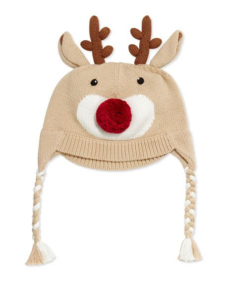 zubels knit reindeer hat brown