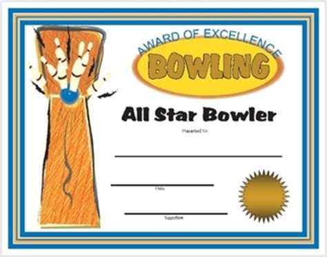 bowling award certificates printable and downloadable