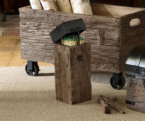 Iron and Wood Fireplace Match Holder With Long Matches   So That's Cool