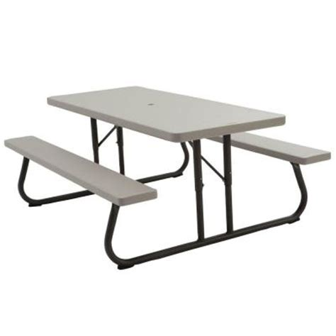 Lifetime 6ft Folding Table Lifetime 6 Ft Folding Picnic Table In Putty 2119 The Home Depot