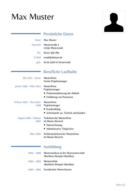 Lebenslauf Muster Erziehungszeit Lebenslauf Vorlage Kostenlose Vorlagen F 252 R Die Bewerbung