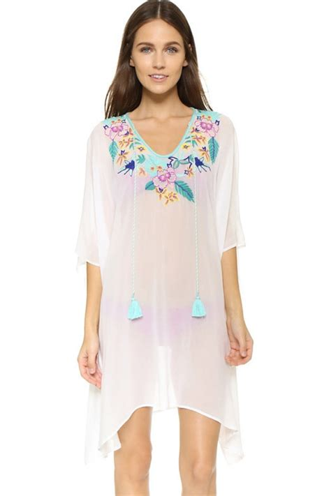 Set Floral Cover Up Dress white floral embroidery fringe swimsuit cover up 025699