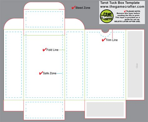 tuck box template for cards tarot tuck box 90 cards