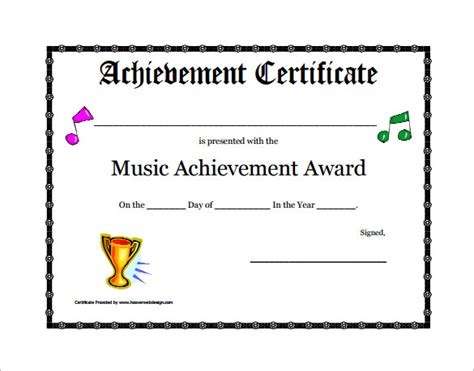 6 printable music certificate templates free word pdf