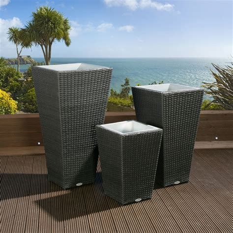 Black Outdoor Planters Luxury Outdoor Garden Set Of 3 Three Black Rattan