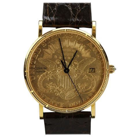 corum yellow gold 1891 eagle 20 gold coin wristwatch with