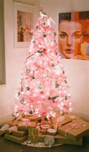 soft pink christmas tree with white ornaments pictures